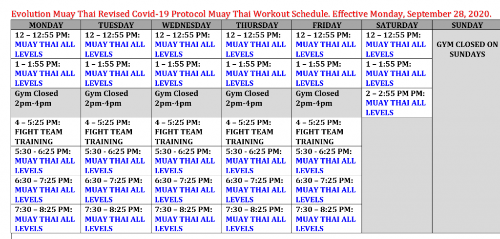 Evolution Muay Thai Training Schedule